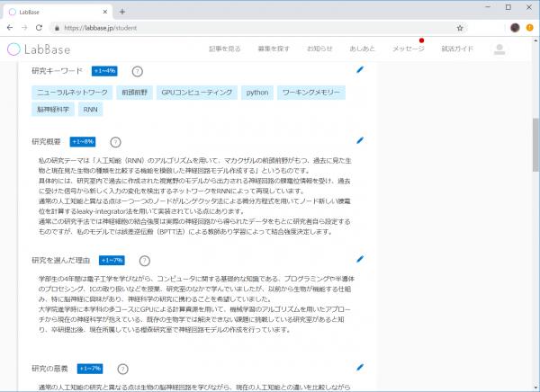 Labbaseの個人プロフィールの内容。研究内容に加えて、個人の性格に関するプロパティもある