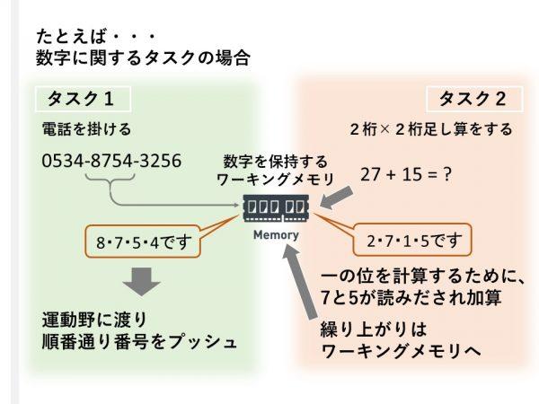 数字に関するワーキングメモリ 数字を扱うタスクは共用のワーキングメモリを使っている
